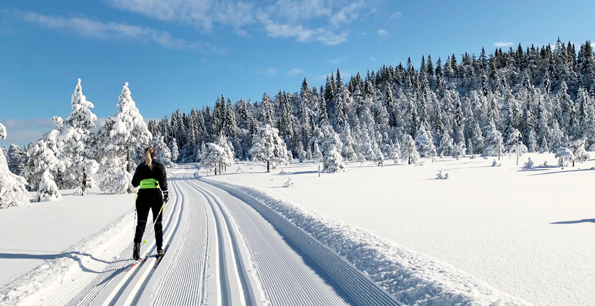 Kvinna åker skidor förbi Brännberg