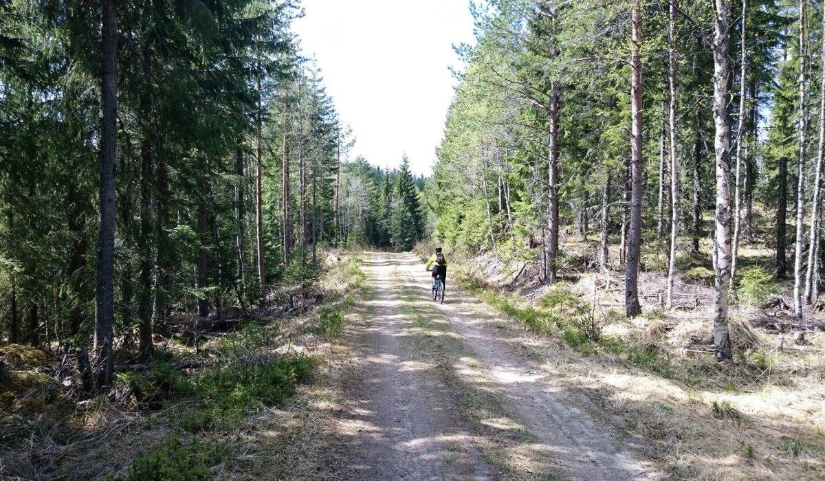 Person cyklar på grusväg